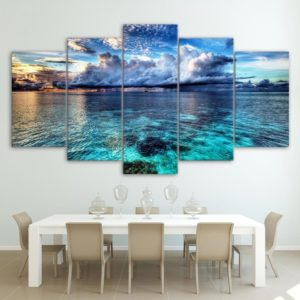 Canvas HD Modern Wall Art Home Decoration Living Room 5 Panel Sea Wave Landscape Print Painting Modular Pictures Poster Frame One Style Frame 10x15 10x20 10x25cm