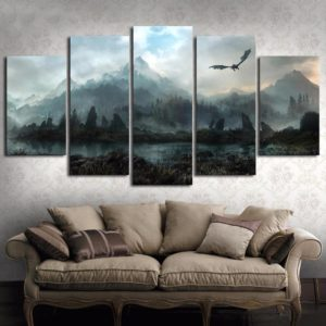 5 Piece HD Wall Art Picture Game of Thrones Dragon Skyrim Oil Painting Mural on Canvas for Living Room Decor One Style Framed Size 1