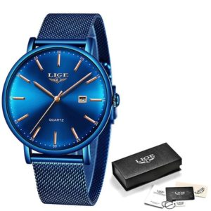 2019 LIGE New Rose Gold Women Watch Business Quartz Watch Ladies Top Brand Luxury Female Wrist Watch Girl Clock Relogio Feminin One Style Full Blue One Size